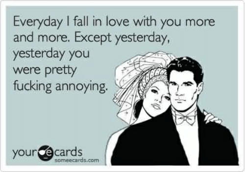 Fall, Fucking, and Love: Everyday I fall in love with you more  and more. Except yesterday,  yesterday you  were pretty  fucking annoying  your e cards  someecards.com