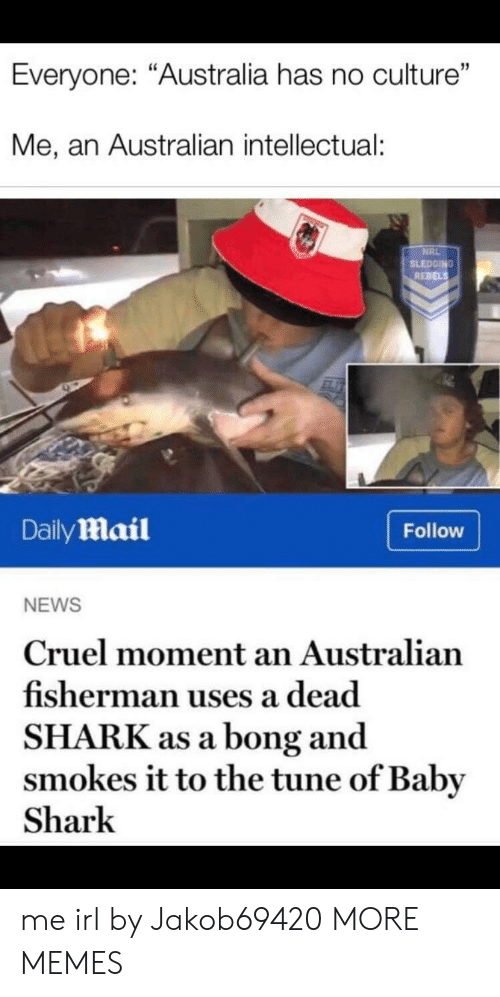 "Bong: Everyone: ""Australia has no culture""  Me, an Australian intellectual:  NRL  SLEDGING  REBELS  DailyMail  Follow  NEWS  Cruel moment an Australian  fisherman uses a dead  SHARK as a bong and  smokes it to the tune of Baby  Shark me irl by Jakob69420 MORE MEMES"