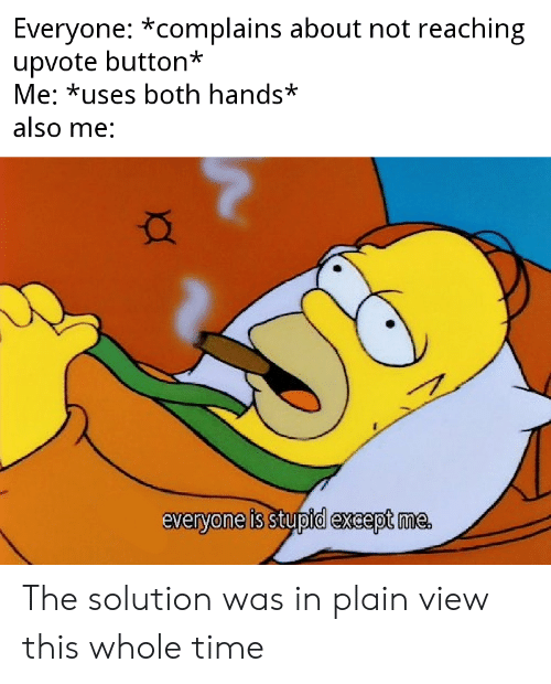 Time, Dank Memes, and Plain: Everyone: *complains about not reaching  upvote button*  Me: *uses both hands*  also me:  everyone is stupid except me The solution was in plain view this whole time