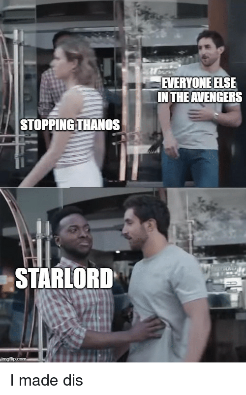 EVERYONE ELSE IN THE AVENGERS STOPPINGTHANOS STARLORD | Reddit Meme