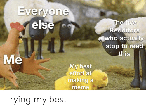 Meme, Best, and Who: Everyone  else  The five  Redditors  who actually  stop to read  this  Me  My best  effort at  making a  meme Trying my best