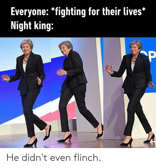 Dank, 🤖, and King: Everyone: *fighting for their lives*  Night king: He didn't even flinch.