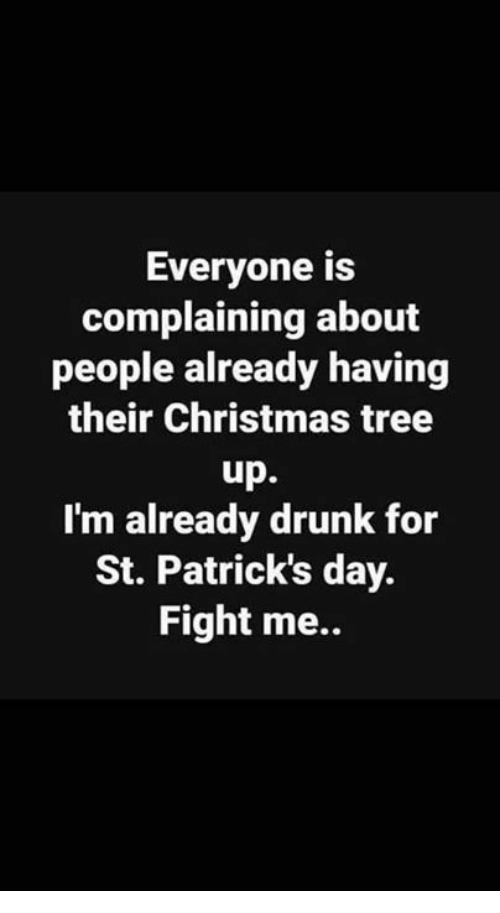 Christmas, Drunk, and Memes: Everyone is  complaining about  people already having  their Christmas tree  up.  I'm already drunk for  St. Patrick's day.  Fight me..