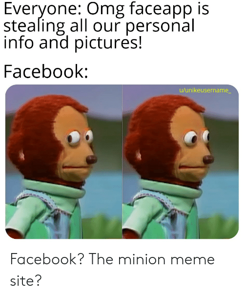 Facebook, Meme, and Omg: Everyone: Omg faceapp is  stealing all our personal  info and pictures!  Facebook:  u/unikeusername_ Facebook? The minion meme site?