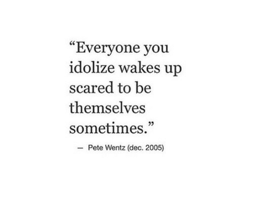"""Pete Wentz, You, and Dec: """"Everyone you  idolize wakes up  scared to be  themselves  sometimes.""""  Pete Wentz (dec. 2005)"""