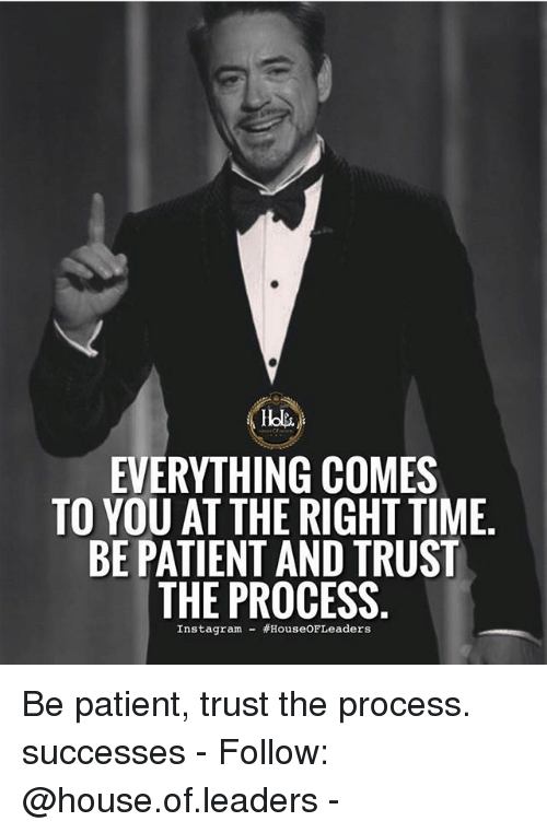 Trust The Process: EVERYTHING COMES  TO YOU AT THE RIGHT TIME  BE PATIENT AND TRUST  THE PROCESS  Instagram- Be patient, trust the process. successes - Follow: @house.of.leaders -