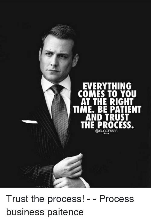 Trust The Process: EVERYTHING  COMES TO YOU  AT THE RIGHT  TIME. BE PATIENT  AND TRUST  THE PROCESS.  @SUCCESSES Trust the process! - - Process business paitence