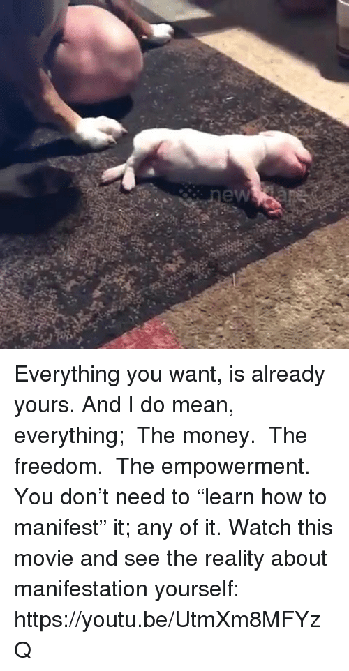 "Memes, Money, and How To: Everything you want, is already yours. And I do mean, everything; ● The money. ● The freedom. ● The empowerment. You don't need to ""learn how to manifest"" it; any of it. Watch this movie and see the reality about manifestation yourself: https://youtu.be/UtmXm8MFYzQ"