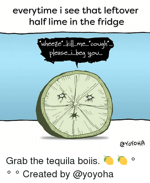 Liming: everytime i see that leftover  half lime in the fridge  Wheeteme. cou  pleas ...beg yo  @YoYoHA Grab the tequila boiis. 🍋 🍋 ° ° ° Created by @yoyoha