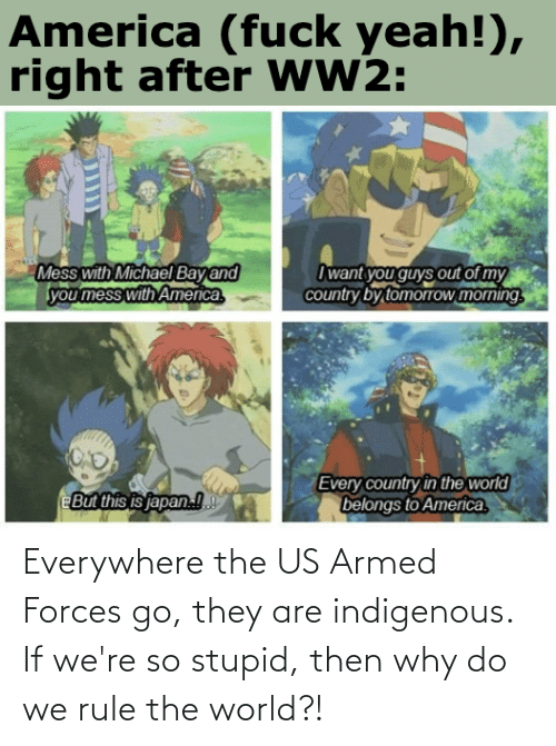 indigenous: Everywhere the US Armed Forces go, they are indigenous. If we're so stupid, then why do we rule the world?!