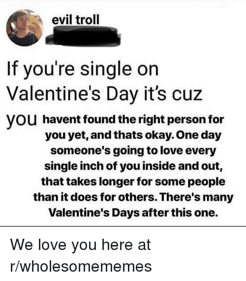 Love, Troll, and Valentine's Day: evil troll  If you're single on  Valentine's Day it's cuz  VOU havent found the right person for  you yet, and thats okay. One day  someone's going to love every  single inch of you inside and out,  that takes longer for some people  than it does for others. There's many  Valentine's Days after this one. We love you here at r/wholesomememes