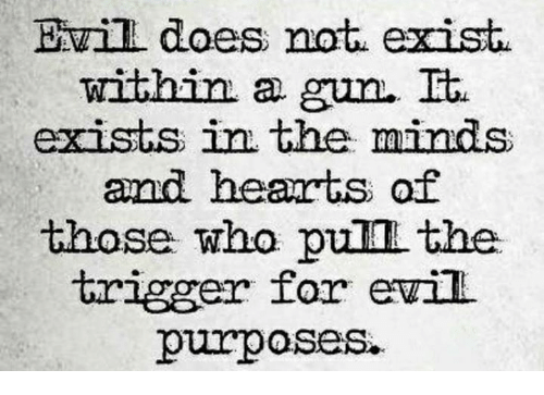 Memes, Hearts, and Evil: Evill does not exist  within a gun.  It.  exists in the minds  and hearts of  those who pum the  trigger for evil  purposes.