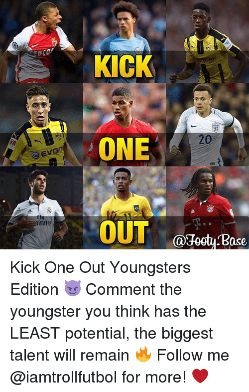 Memes, 🤖, and One: Evon  CSE  irat  KICK  ONE  OUT  Ca3octy ase Kick One Out Youngsters Edition 😈 Comment the youngster you think has the LEAST potential, the biggest talent will remain 🔥 Follow me @iamtrollfutbol for more! ❤️