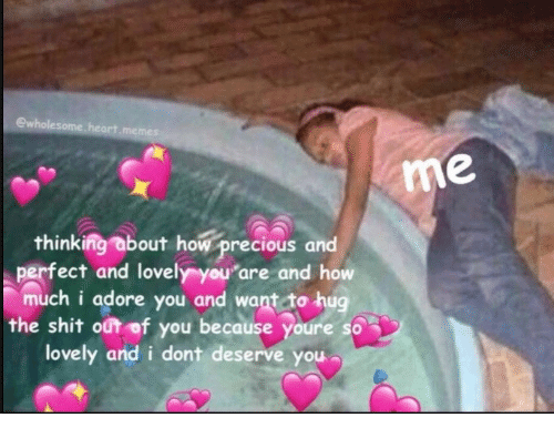Precious, Shit, and How: ewhole  me  thinking about how precious and  perfect and lovely you are and how  much i adore you and want to hug  the shit out of you because youre so  lovely and i dont deserve you