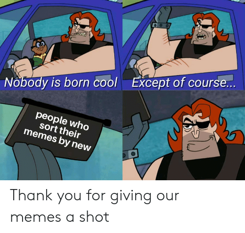 Memes, Reddit, and Thank You: Except of course..  Nobody is born cool  people who  sort their  memes by new Thank you for giving our memes a shot