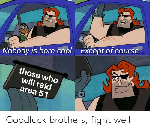 Cool, Dank Memes, and Fight: Except of course...  Nobody is born cool  those who  will raid  area 51 Goodluck brothers, fight well