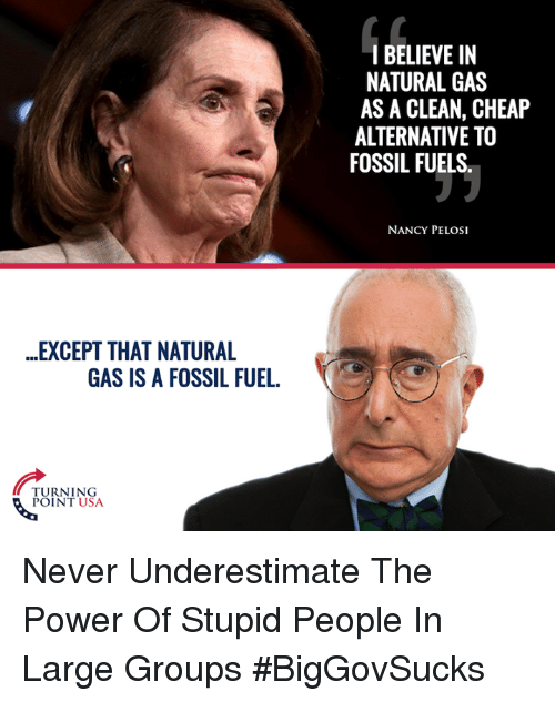 Memes, Fossil, and Nancy Pelosi: ..EXCEPT THAT NATURAL  GAS IS A FOSSIL FUEL.  TURNING  POINT USA  I BELIEVE IN  NATURAL GAS  AS A CLEAN, CHEAP  ALTERNATIVE TO  FOSSIL FUELS  NANCY PELOSI Never Underestimate The Power Of Stupid People In Large Groups #BigGovSucks