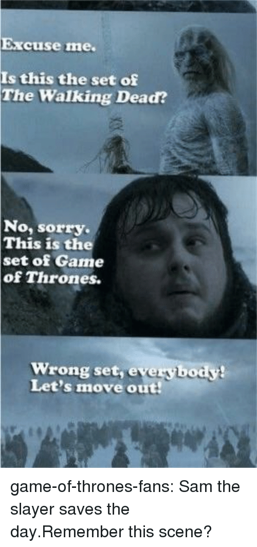 Move Out: Excuse me.  Is this the set of  The Walking Dead?  No, sorry.  This is the  set of Game  of Thrones.  Wrong set, everybody!  Let's move out game-of-thrones-fans:  Sam the slayer saves the day.Remember this scene?