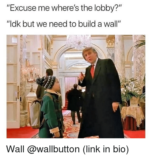 "Link, Dank Memes, and Build A: ""Excuse me where's the lobby?""  ""ldk but we need to build a wall"" Wall @wallbutton (link in bio)"