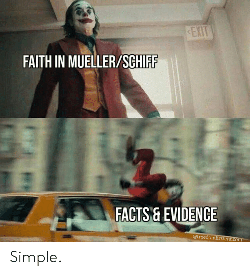 Mueller: EXIT  FAITH IN MUELLER/SCHIFF  FACTS& EVIDENCE  @freedomfirstent.com Simple.