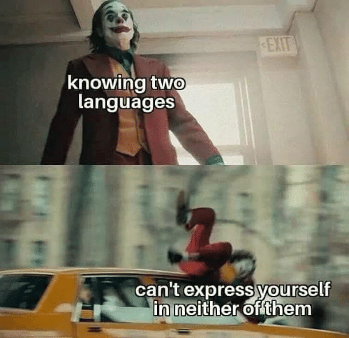 Express: EXIT  knowing two  languages  can't express yourself  in neither of them