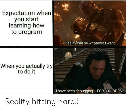 How To, Reality, and Been: Expectation when  you start  learning how  to program  Reality'can be whatever I want.  When you actually try  to do it  Thave been debugging.. FOR 30 HOURS!!! Reality hitting hard!!