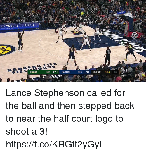 """Lance Stephenson, Memes, and Back: ext """"APPLY"""" to RUOFF  12  34  BUCKS  3429 69 PACERS  36-27 70 3rd Qtr 13.2 06 Lance Stephenson called for the ball and then stepped back to near the half court logo to shoot a 3! https://t.co/KRGtt2yGyi"""