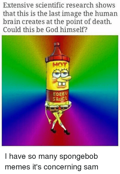 Memes, Sauce, and 🤖: Extensive scientific research shows  that this is the last image the human  brain creates at the point of death.  Could this be God himself?  SAUCE I have so many spongebob memes it's concerning ≪sam≫