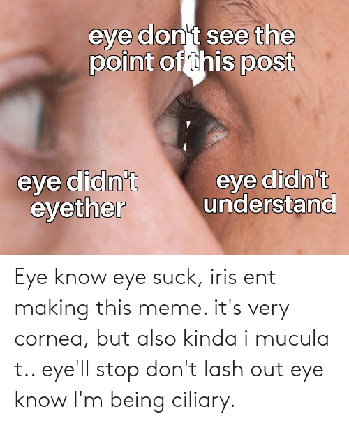ent: Eye know eye suck, iris ent making this meme. it's very cornea, but also kinda i mucula t.. eye'll stop don't lash out eye know I'm being ciliary.