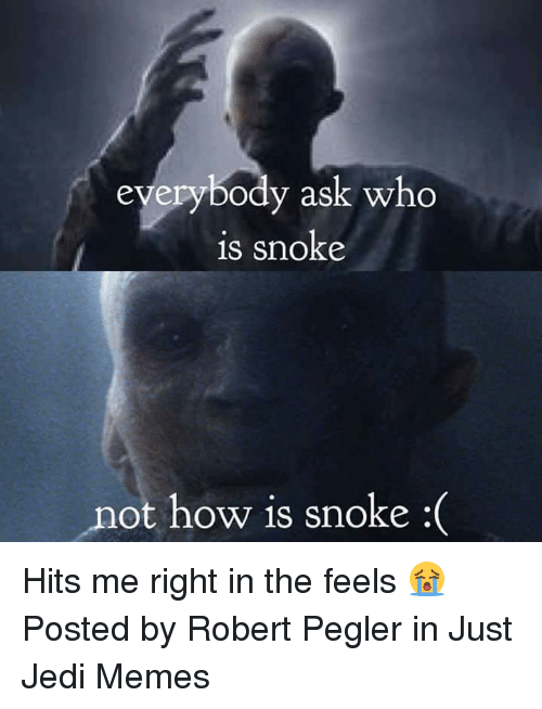 Jedi, Memes, and Star Wars: eyerybody ask who  is snoke  not how is snoke :( Hits me right in the feels 😭  Posted by Robert Pegler in Just Jedi Memes