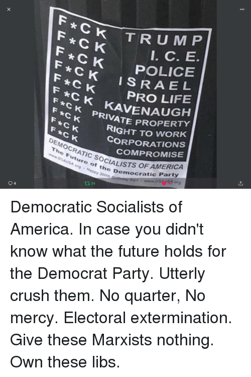 Democratic Socialists Of America: F CK  F CK  POLICE  *CK  ISRAE L  F CK  F *CK  F CK PRIVATE PR  F *CK  F CK  F*C K  DEMOCRATIC SOCIAL  PRO LIFE  RIVATE PROPERTY  RIGHT TO WORK  CORPORATIONS  COMPROMISE  The Future of the De  ofALISTS OF AMERICA  DSAUSA org  Democratic Party  or  appy 200th  40  0 34  4