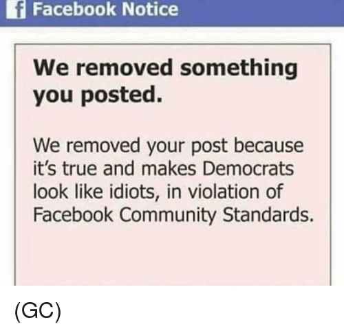 Community, Facebook, and Memes: f  Facebook  Notice  We removed something  you posted.  We removed your post because  it's true and makes Democrats  look like idiots, in violation of  Facebook Community Standards. (GC)
