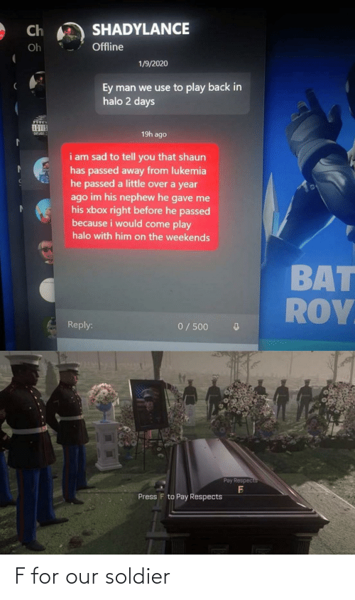 soldier: F for our soldier