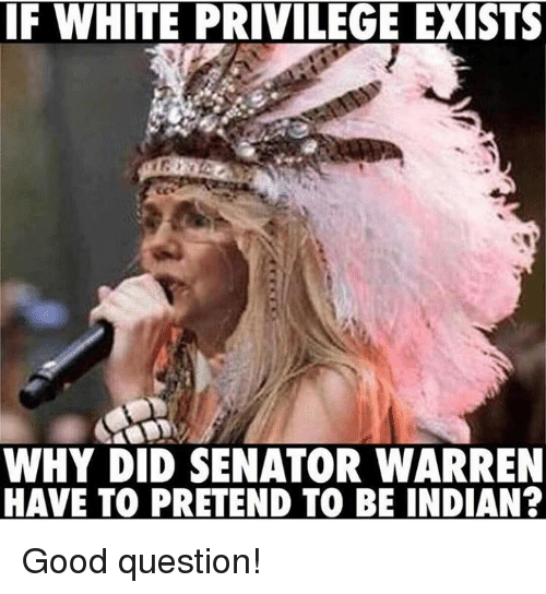 Memes, Good, and White: F WHITE PRIVILEGE EXIST  WHY DID SENATOR WARREN  HAVE TO PRETEND TO BE INDIAN? Good question!