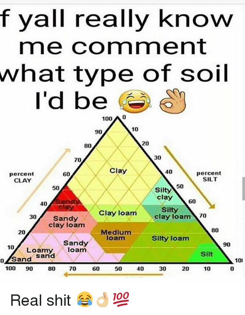 sands: f yall really know  me comment  what  type of soil  I'd be O  100 A 0  10  90  20  80  30  70  Clay  40  percent  CLAY  percent  SILT  60  50  50  Silty  clay \ 60  40  Silty  clay loam 70  30 Sandy  Clay loam  clay loam  80  Medium  loam  20  Silty loam  Sandy  Loamy,loam  90  10  Silt  o/Sand Sarnd  101  0  100 90 80 70  60  50  40  30  20  10 Real shit 😂👌🏼💯