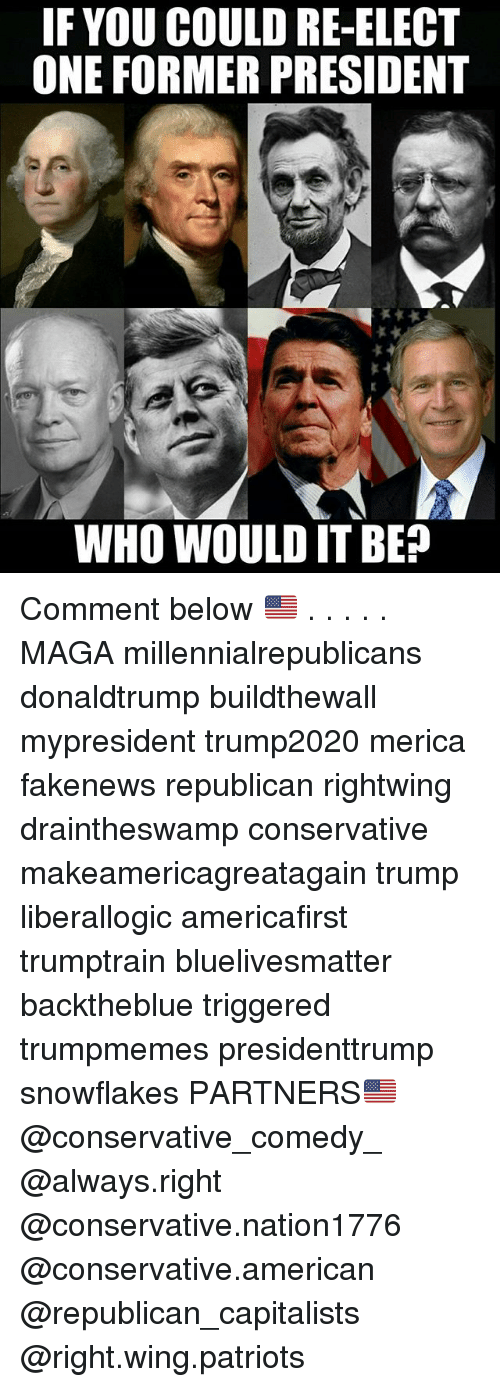 Memes, Patriotic, and American: F YOU COULD RE-ELECT  ONE FORMER PRESIDENT  WHO WOULD IT BE? Comment below 🇺🇸 . . . . . MAGA millennialrepublicans donaldtrump buildthewall mypresident trump2020 merica fakenews republican rightwing draintheswamp conservative makeamericagreatagain trump liberallogic americafirst trumptrain bluelivesmatter backtheblue triggered trumpmemes presidenttrump snowflakes PARTNERS🇺🇸 @conservative_comedy_ @always.right @conservative.nation1776 @conservative.american @republican_capitalists @right.wing.patriots