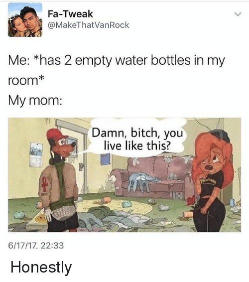 Bitch, Memes, and Live: Fa-Tweak  @MakeThat VanRock  Me: *has 2 empty water bottles in my  room  My mom:  Damn, bitch, you  live like this?  6/17/17, 22:33 Honestly