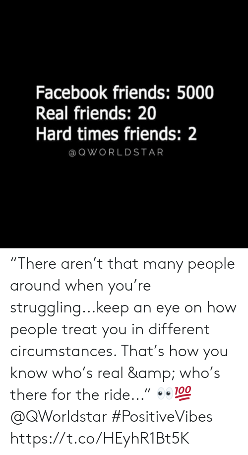 """hard times: Facebook friends: 5000  Real friends: 20  Hard times friends: 2  @ QWORLDSTAR """"There aren't that many people around when you're struggling...keep an eye on how people treat you in different circumstances. That's how you know who's real & who's there for the ride..."""" 👀💯 @QWorldstar #PositiveVibes https://t.co/HEyhR1Bt5K"""