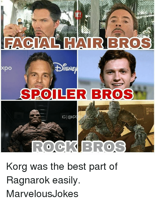 Memes, Best, and Hair: FACIAL HAIR BROS  xpo  ISNE  SPOILER BROS  ROOKBROS Korg was the best part of Ragnarok easily. MarvelousJokes