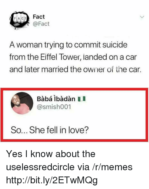 Love, Memes, and Baba: FACIT Fact  @Fact  A woman trying to commit suicide  from the Eiffel Tower, landed on a car  and later married the owner of the car.  Babá ibàdàn II  @smish001  So... She fell in love? Yes I know about the uselessredcircle via /r/memes http://bit.ly/2ETwMQg