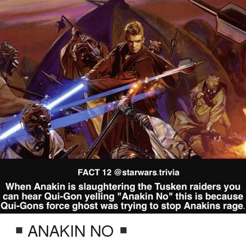 "Memes, Ghost, and Raiders: FACT 12 @starwars trivia  When Anakin is slaughtering the Tusken raiders you  can hear Qui-Gon yelling ""Anakin No"" this is because  Qui-Gons force ghost was trying to stop Anakins rage. ▪️ANAKIN NO▪️"