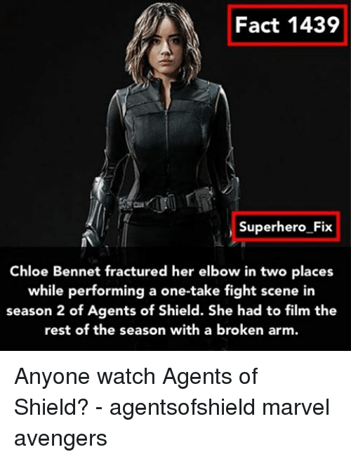 Memes, Agents of Shield, and 🤖: Fact 1439  Superhero Fix  Chloe Bennet fractured her elbow in two places  while performing a one-take fight scene in  season 2 of Agents of Shield. She had to film the  rest of the season with a broken arm. Anyone watch Agents of Shield? - agentsofshield marvel avengers