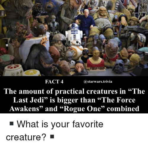 """the force awakens: FACT 4  @starwars.trivia  .66  he amount of practical creatures in """"The  Last Jedi"""" is bigger than """"The Force  Awakens"""" and """"Rogue One"""" combined ▪️What is your favorite creature?▪️"""