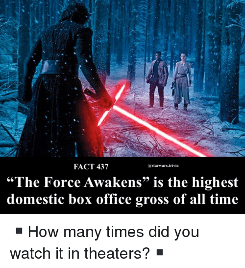 """the force awakens: FACT 437  astarwars.trivia  """"The Force Awakens"""" is the highest  domestic box office gross of all time ▪️How many times did you watch it in theaters?▪️"""