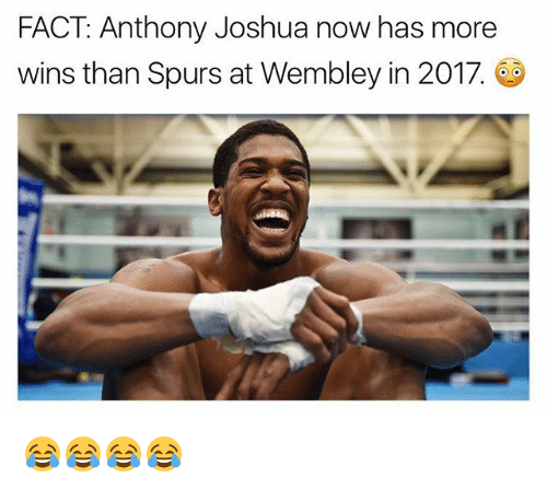 wembley: FACT Anthony Joshua now has more  wins than Spurs at Wembley in 2017. 😂😂😂😂
