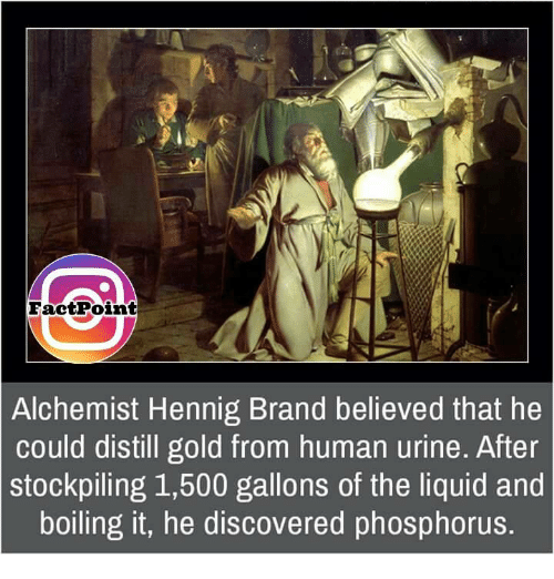 phosphorus: Fact Point  Alchemist Hennig Brand believed that he  could distill gold from human urine. After  stockpiling 1,500 gallons of the liquid and  boiling it, he discovered phosphorus.