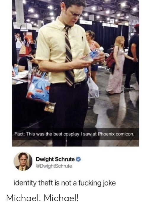 Theft: Fact: This was the best cosplay I saw at Phoenix comicon.  Dwight Schrute  @DwightSchrute  identity theft is not a fucking joke Michael! Michael!