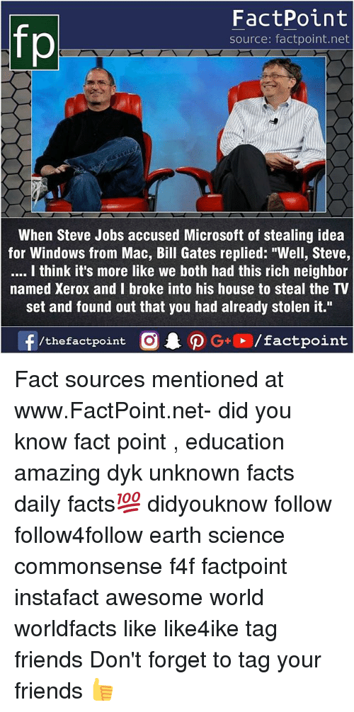 "Bill Gates, Facts, and Friends: FactPoint  source: factpoint.net  When Steve Jobs accused Microsoft of stealing idea  for Windows from Mac, Bill Gates replied: ""Well, Steve,  I think it's more like we both had this rich neighbor  named Xerox and I broke into his house to steal the TV  set and found out that you had already stolen it."" Fact sources mentioned at www.FactPoint.net- did you know fact point , education amazing dyk unknown facts daily facts💯 didyouknow follow follow4follow earth science commonsense f4f factpoint instafact awesome world worldfacts like like4ike tag friends Don't forget to tag your friends 👍"