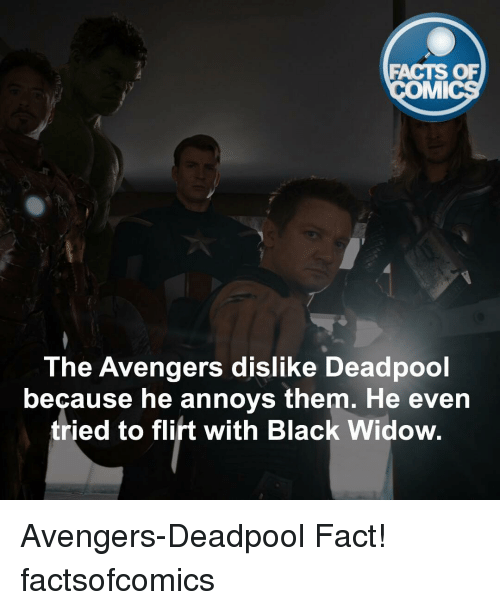 imy: FACTS OF  IMI  The Avengers dislike Deadpool  because he annoys them. He even  tried to flirt with Black Widow. Avengers-Deadpool Fact! factsofcomics