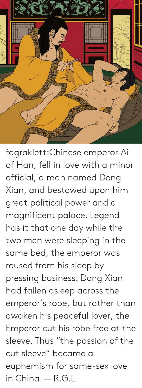 """Euphemism: fagraklett:Chinese emperor Ai of Han, fell in love with a minor official, a man named Dong Xian, and bestowed upon him great political power and a magnificent palace. Legend has it that one day while the two men were sleeping in the same bed, the emperor was roused from his sleep by pressing business. Dong Xian had fallen asleep across the emperor's robe, but rather than awaken his peaceful lover, the Emperor cut his robe free at the sleeve. Thus """"the passion of the cut sleeve"""" became a euphemism for same-sex love in China. — R.G.L."""